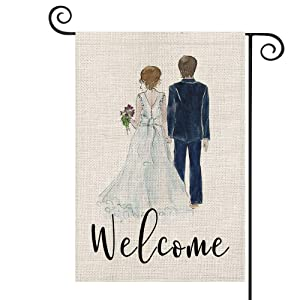 AVOIN Welcome Watercolor Bride and Groom Wedding Garden Flag Vertical Double Sized, Anniversary Holiday Party Yard Outdoor Decoration 12.5 x 18 Inch