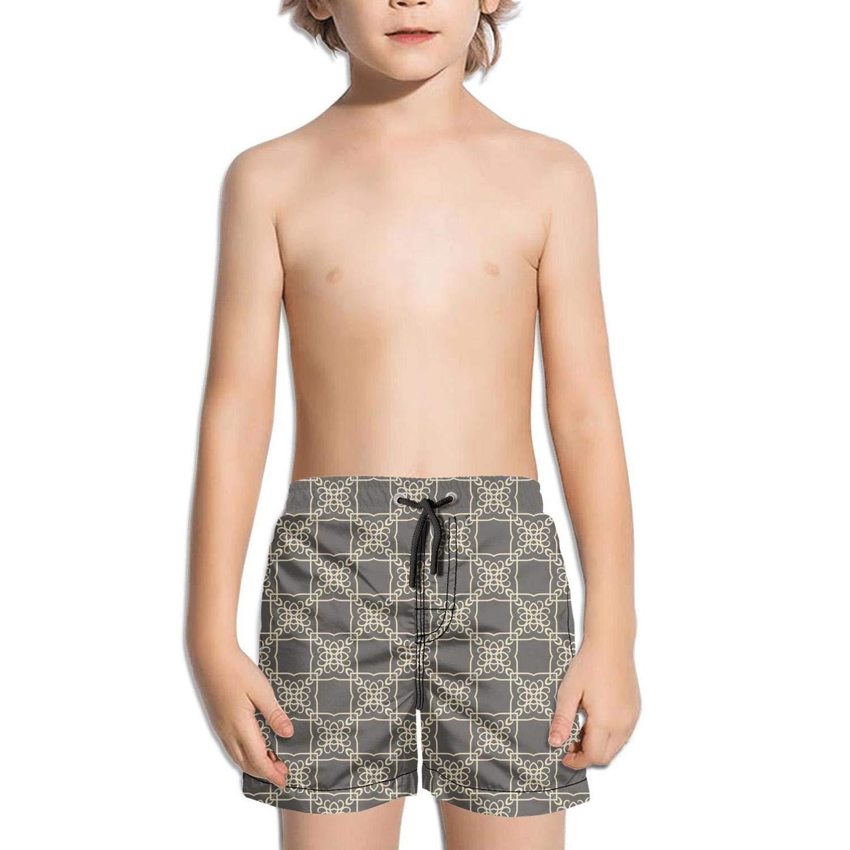 Abstract Geometric Brown Fashion Swim Trunks BingGuiC Boys Quick Dry Shorts