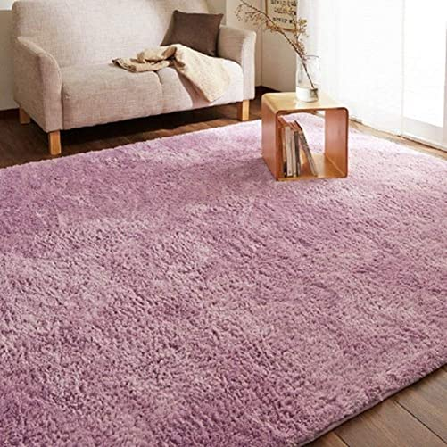 LGXH Fluffy Anti-Skid Shaggy Area Rug 6.56'x9.84' Soft Modern Shag Rug Living Dining Room Carpet Cozy Solid Rugs Purple