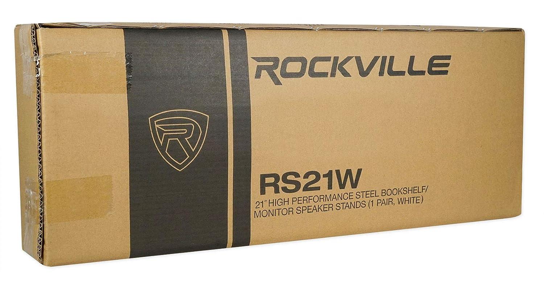 White RS29W Rockville 29 Steel Bookshelf Speaker//Studio Monitor Stands