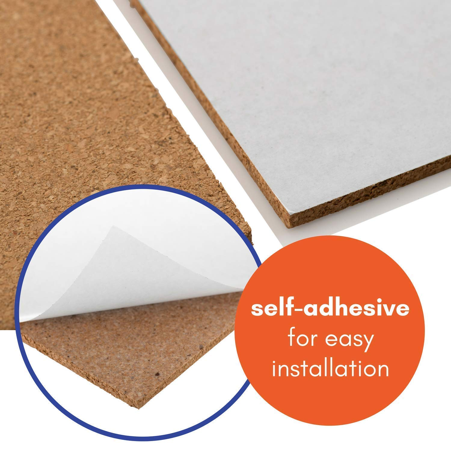 Cork Tiles Self-Adhesive (1 8 sqm coverage) - Natural 300x300mm, Tiles |  Great for Floors, Walls, DIY, Pin Boards & Craft Projects | Acts as Sound