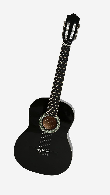 NAVARRA NV12 Guitarra clásica 4/4 negro con bordes crema incl. funda con correas tipo mochila y bolsillo para partituras/accesorios, 2 Púa: Amazon.es: ...