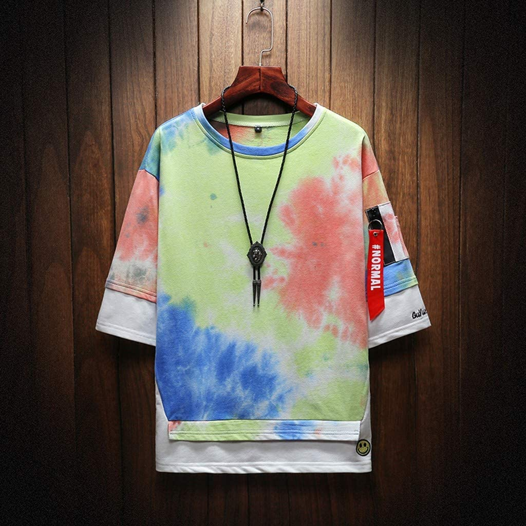 DFHYAR Mens Hipster Hip Hop Fake Two Pieces Short Sleeve with Flowy Strap Tie dye Cotton T-Shirts