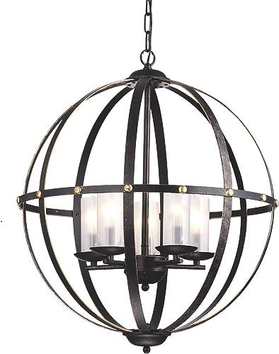 Edvivi 5-Light Antique Bronze Globe Sphere Orb Cage Chandelier Ceiling Fixture