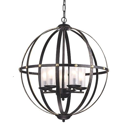 buy online 3ce70 48950 Edvivi 5-Light Antique Bronze Globe Sphere Orb Cage Chandelier Ceiling  Fixture with Glass Sconces | Modern Farmhouse Lighting