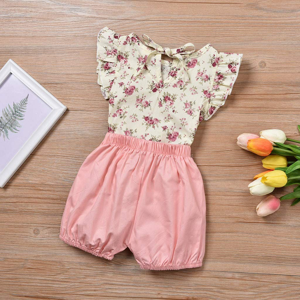 JERFER Baby Set Toddler Girls Sleeveless Floral Print Tops+Solid Bow Shorts Clothes Outfits