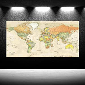 iKNOW FOTO Large Push Pin Travel Maps Canvas Prints Wall Art Antiqued Map of The World Painting Vintage Giclee Artwork for Office Wall Decor Home Living Room Decorations Framed Ready to Hang 24x48inch