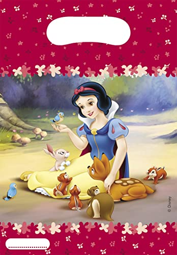Disney Princess Snow White Loot Bags Pack of 6 & Disney Princess Snow White Theme 9 Inch Paper Plates - Pack of 10 ...