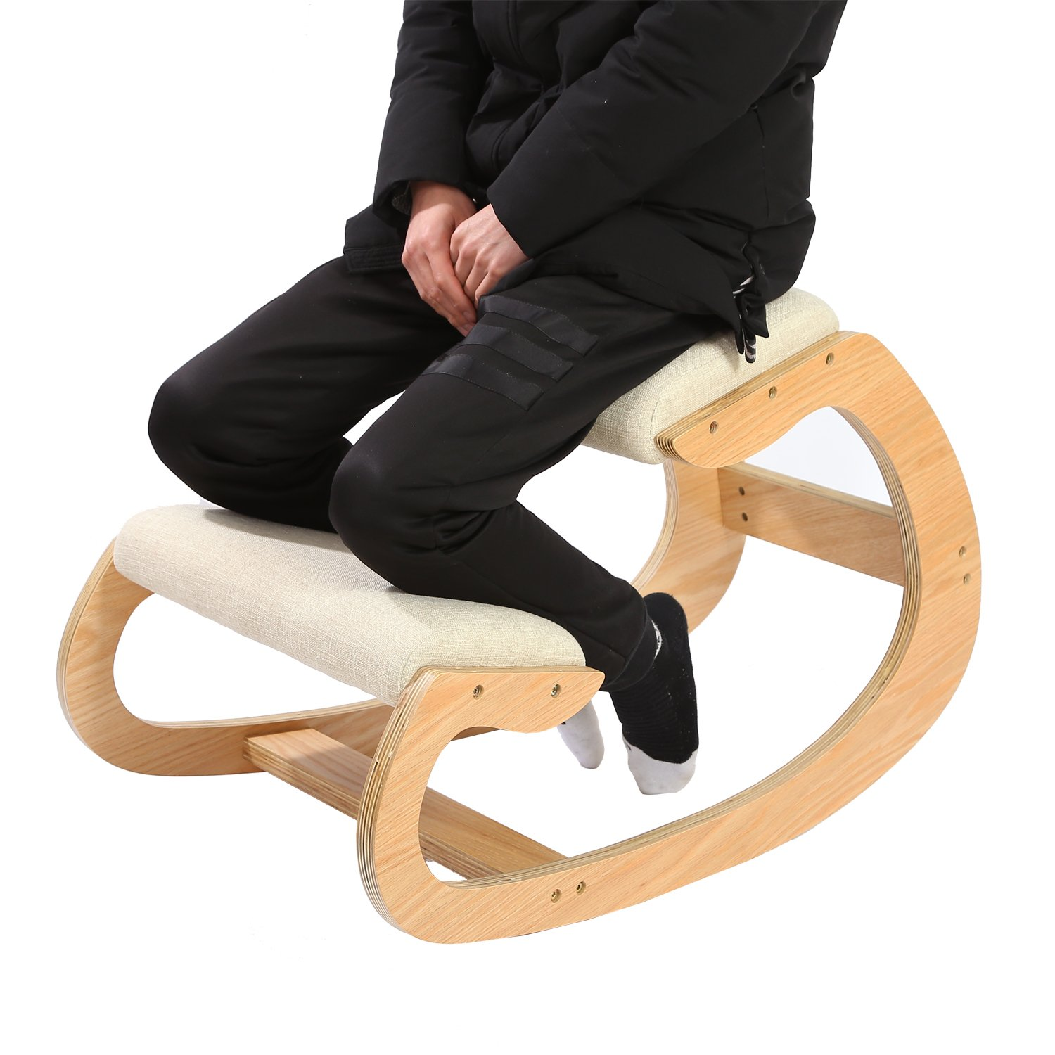 Ergonomic Kneeling Chair Upright Posture - Rocking Chair Knee Stool Home, Office & Meditation - Wood & Linen Cushion - Relieving Back Neck Pain & Improving Posture (Pecan) MallBoo