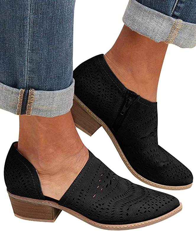 8ffff7a4e98f Athlefit Women s Cut Out Ankle Boots Slip On Low Heel Pointed Toe Loafers  Size 5.5 Black