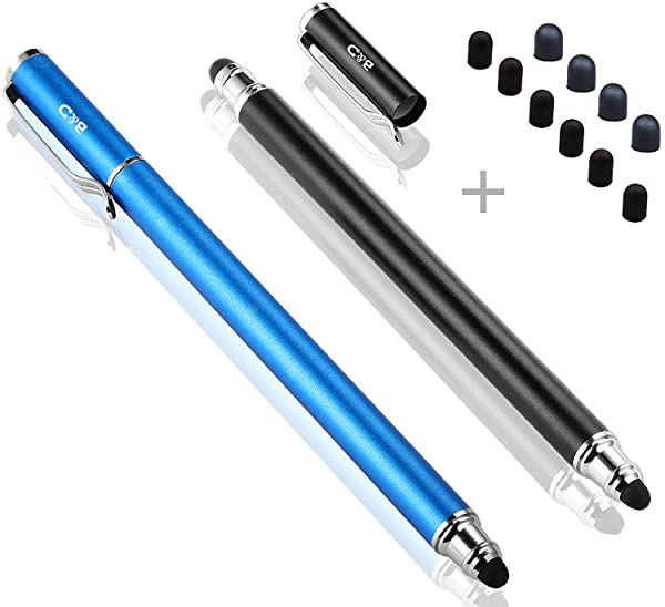 Bargains Depot (2 Pcs) [New Upgraded][0.18-inch Small Tip Series] 2-in-1 Stylus/Styli 5.5-inch L with 10 Replacement Rubber Tips -Black/Blue (Color: Blue/Black)