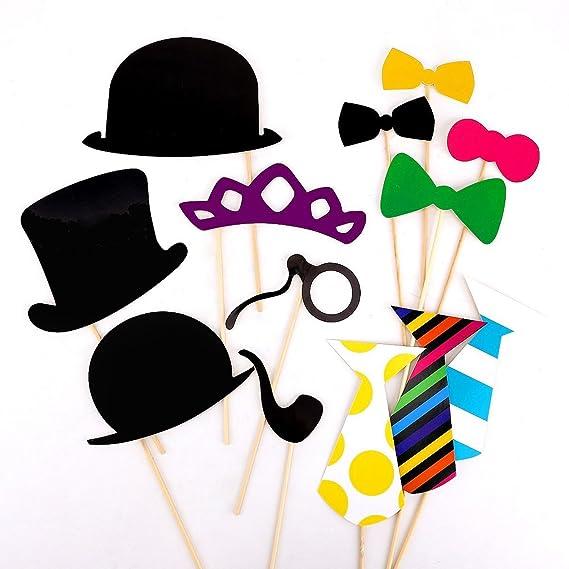 Amazon.com: 58pcs DIY Photo Booth props Cosplay sombrero ...