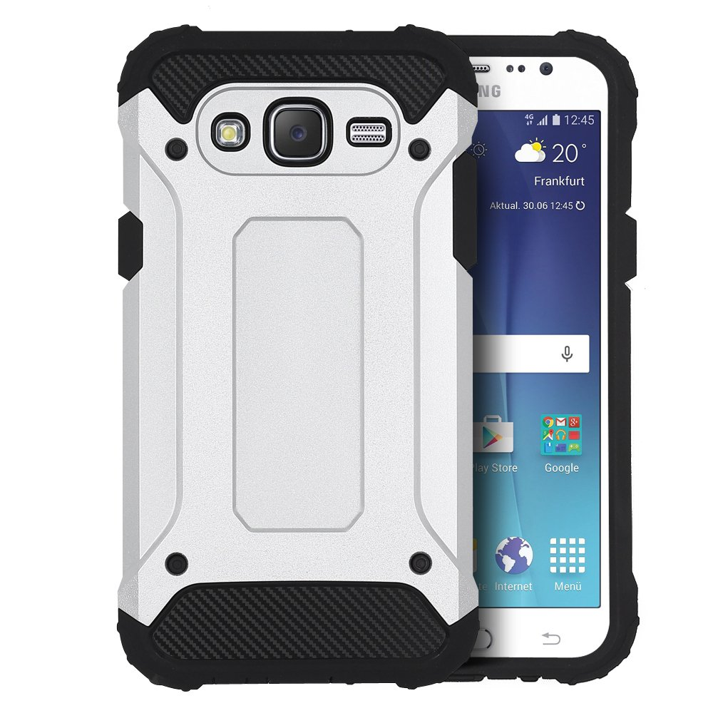 CLM-Tech Carcasa Híbrida para Samsung Galaxy J5 (2015) Cover Plata Negro Funda 2-Partes Tapa TPU Silicona y Plástico Duro - No es Compatible con el ...