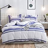 Merryfeel Duvet Cover Set,100% Cotton Yarn Dyed Stripe Bedding Set,3 Pieces(1 Duvet Cover with 2 Pillowshams) - Full/Queen