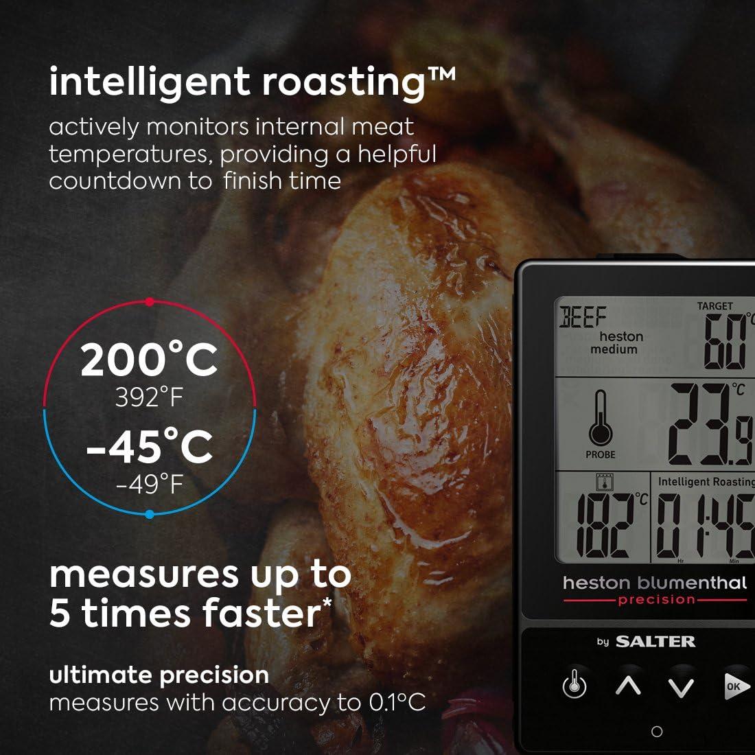 Compra Heston Blumenthal 540A HBBKCR by Salter Termómetro Digital 5 en 1: sensores Dobles, medición de la Temperatura de cocción de la Comida y el Horno, asado, Parrilla, plastico, Negro, 3.5 x