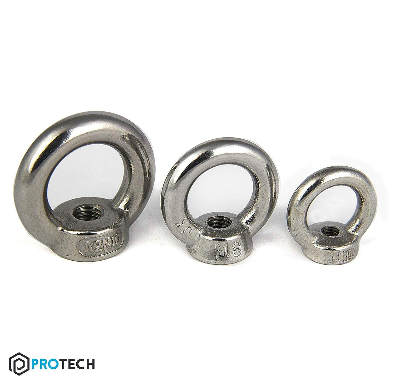 PROTECH 10 St/ück Ringmutter DIN 582 M6 Edelstahl A2 V2A Rostfrei /Ösenmutter Augenmutter/Mutter//Öse poliert