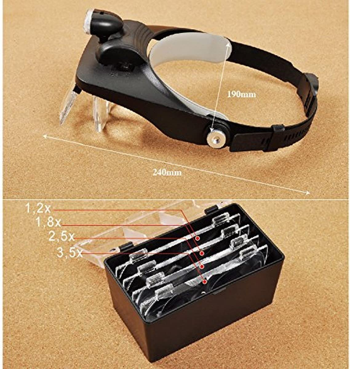 3-LED Kopflupe Stirnlupe Brillenlupe Lupenbrille Lupe 5 Vergrößerungs USB