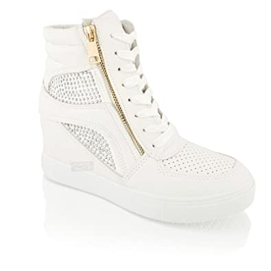 f5bc9ced9710b Womens Ladies Hidden Wedge Heel Platform Sneakers Lace up Trainers Ankle  Boots  Amazon.co.uk  Shoes   Bags