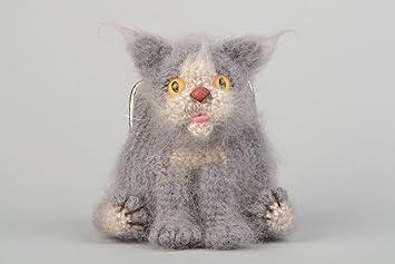 Monedero artesanal tejido a ganchillo de hilos de angora gato gris para ninos: Amazon.es: Hogar