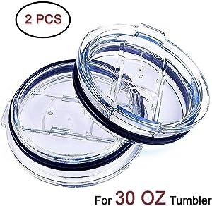 2 Splash Proof 30 oz, Spill Resistant With Slider Closure, fit Yeti Lids, Old Rtic Lids, Ozark Lids Sliding Replacement 2 Lids For Tumbler, Open - Close Slide Lids, Straw Friendly by Weierken