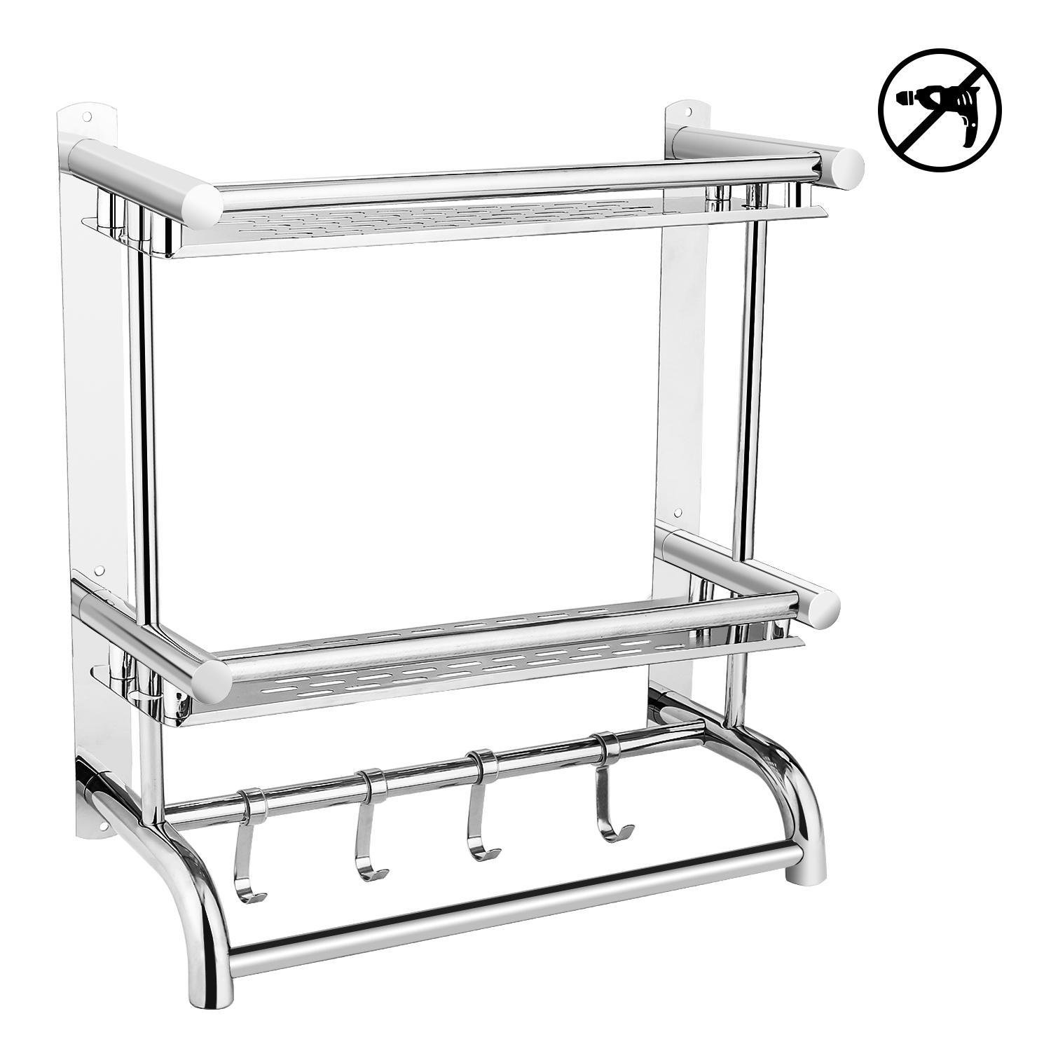 Evokem Bathroom Towel Racks, 3-Tier Stainless Steel Wall Mount Towel Rack Hanger Shelf Organizer, Free of Nail Drilling Installation & Drill Drilling Installation by Evokem