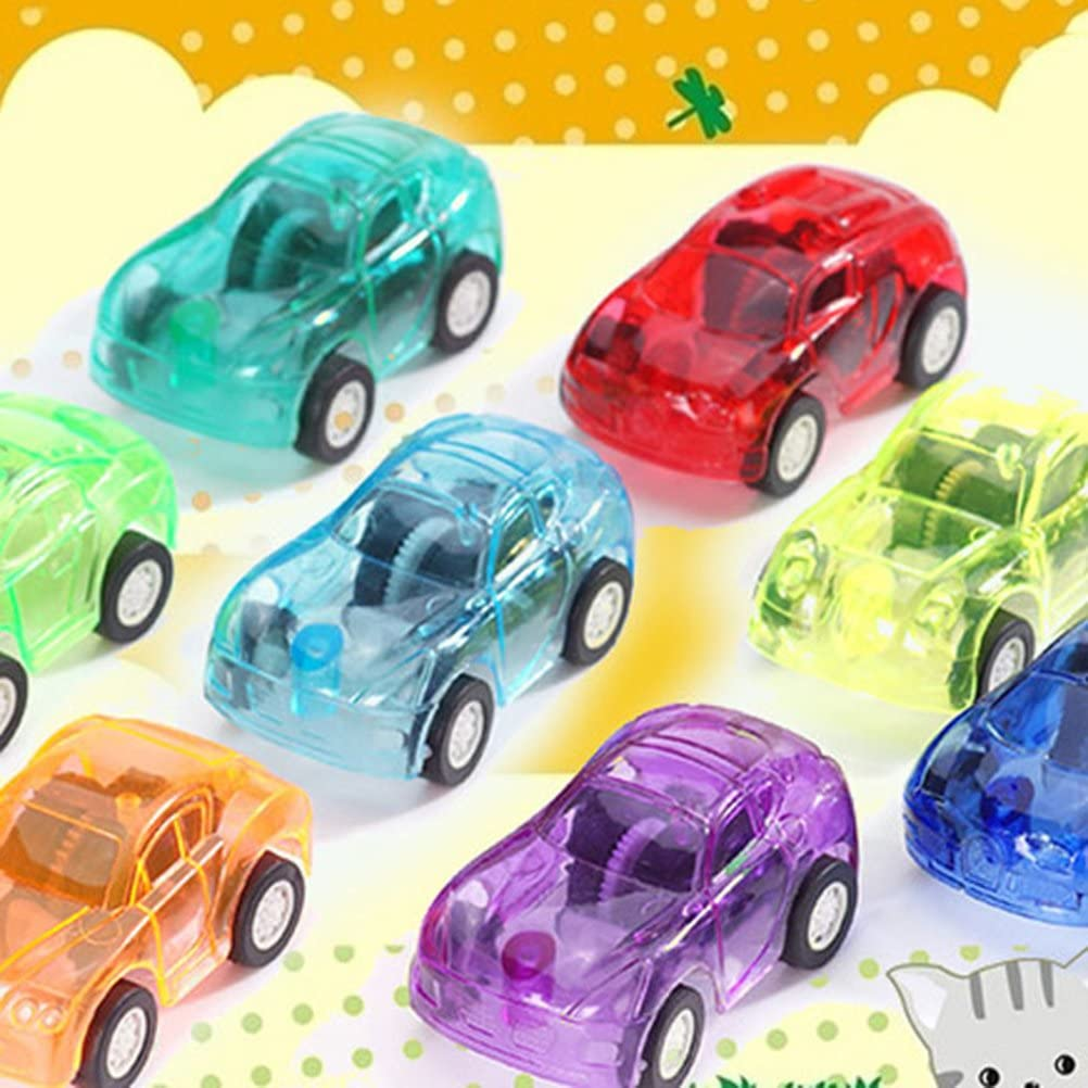 Random Color STOBOK 20pcs Mini Pull Back Car Toy Transparent Small Vehicles Toy Plastic Funny Car Toy for Kids Toddler