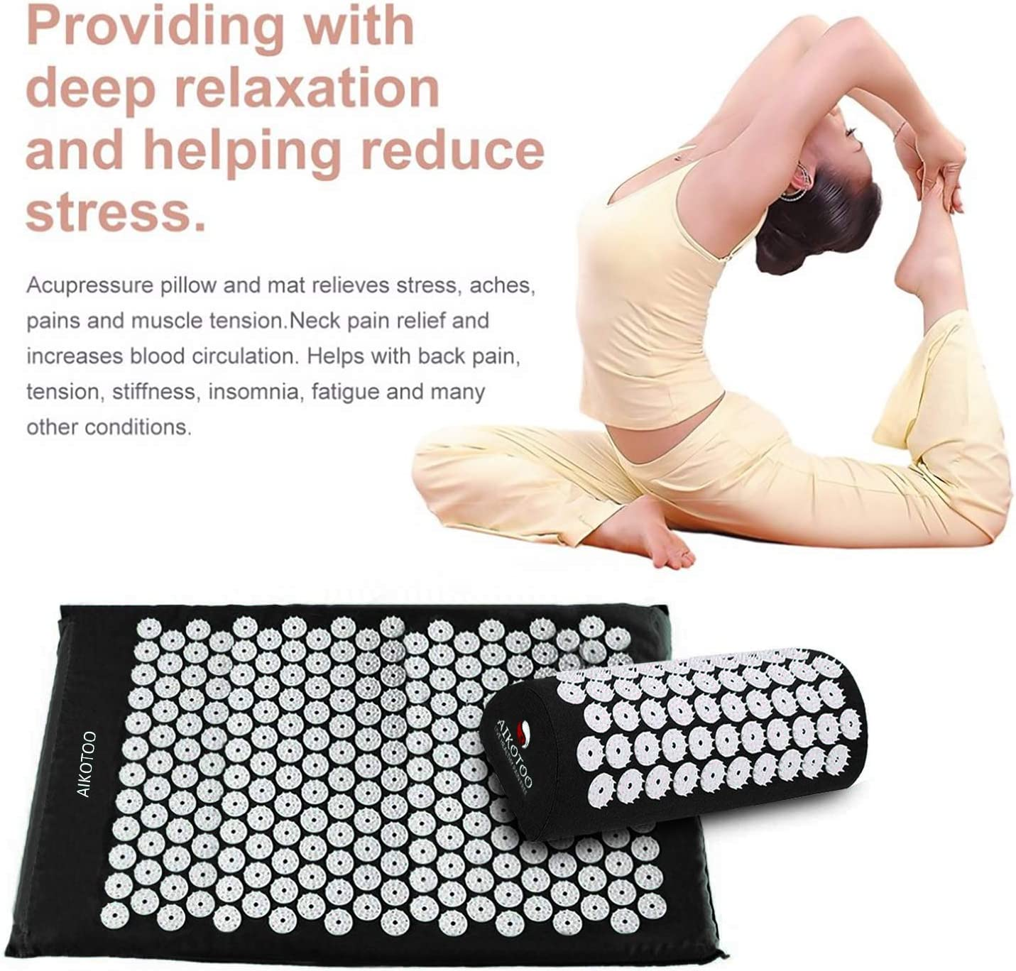 Acupressure Mat & Pillow Set for Sciatic Pain Back Pain & Neck Pain Relief (Black)