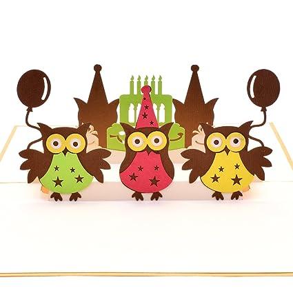 Yolopop Handmade Awesome Owls Happy Birthday Pop Up Greeting Card