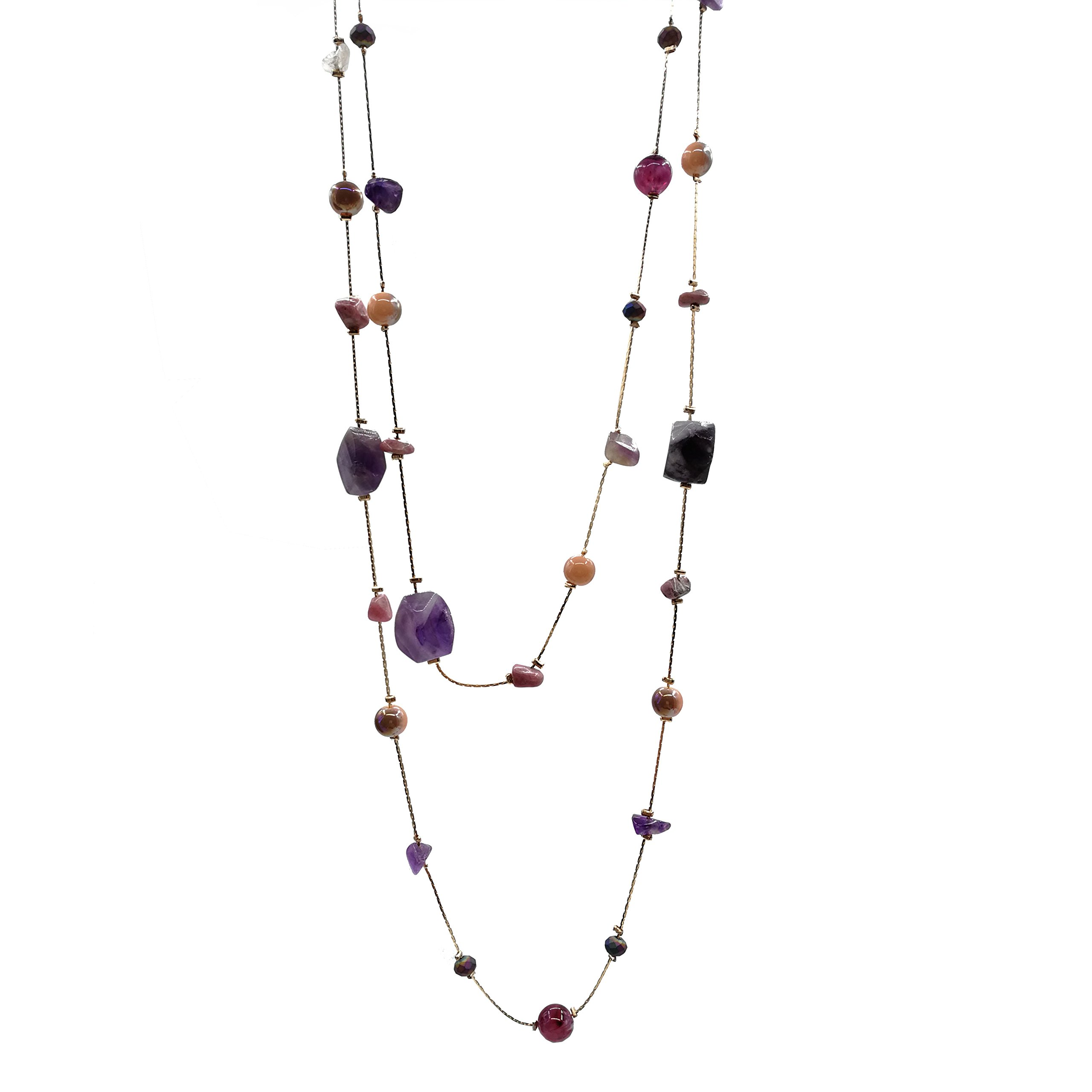 Karen accessories Long Size Irregular Natural Stone Necklace Hand Knotted Charm Bohemian Style Beaded Strand Necklace (Purple stone)