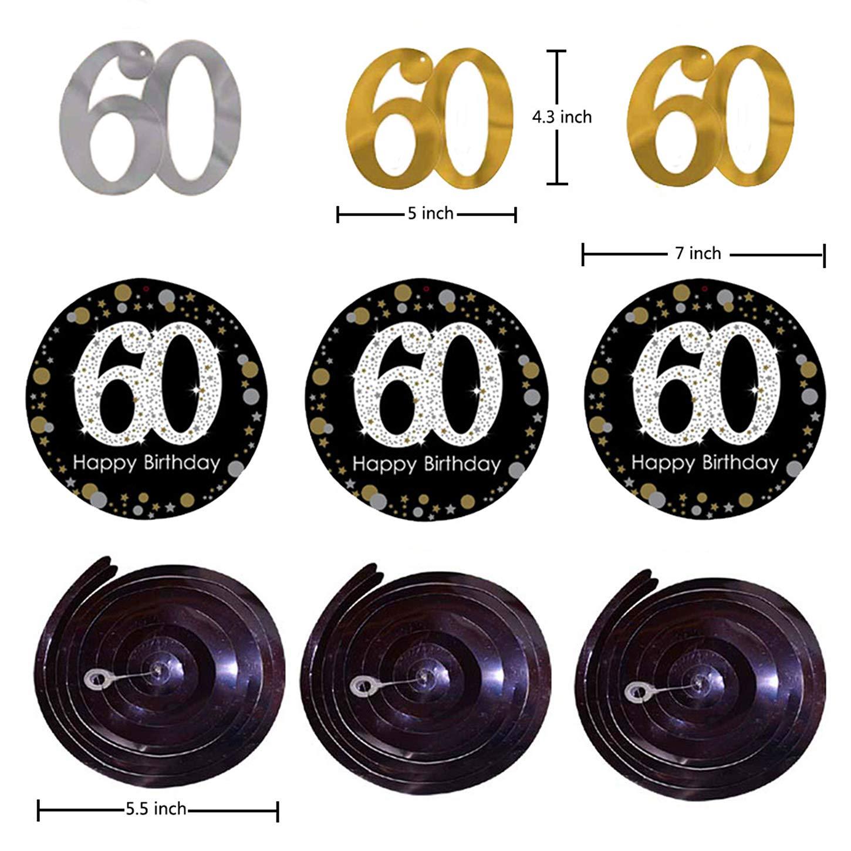 60 cumplea/ños decoracion de 60 Cumplea/ños Para 60 Cumplea/ños Mujer y 60 Cumplea/ños Hombre de Paquetes de Fiesta Para Damas y Hombres