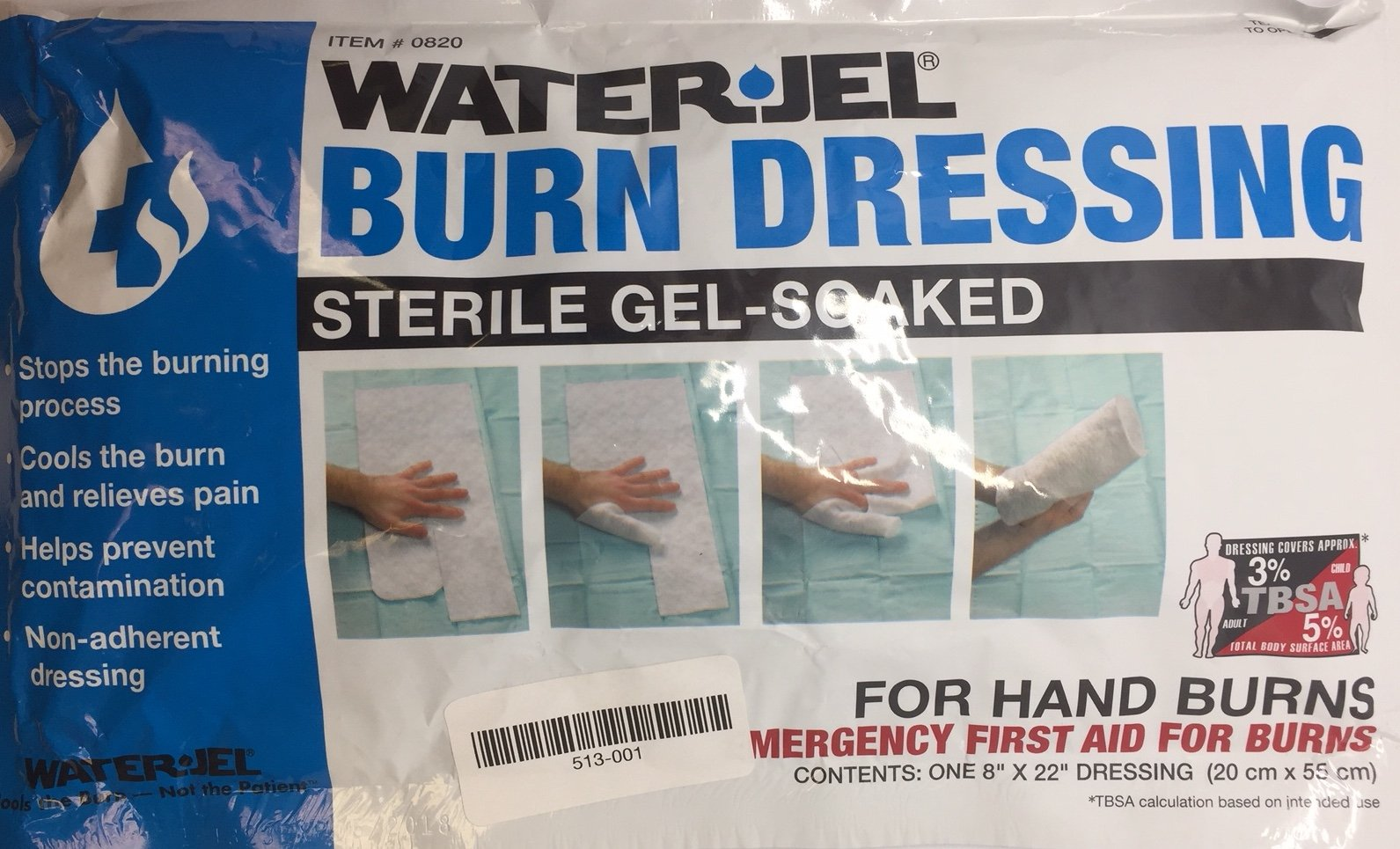 Waterjel Burn Dressing 8'' x 22'' Hand burns