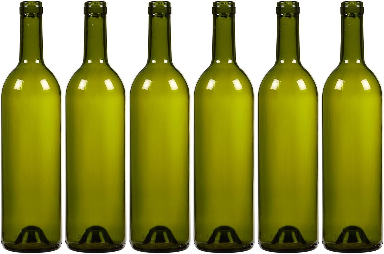 6-Pack Wine Glass Bottles - Empty, Recyclable Bordeaux Bottles for Home Brewing Alcohol, Wine Supplies, Green