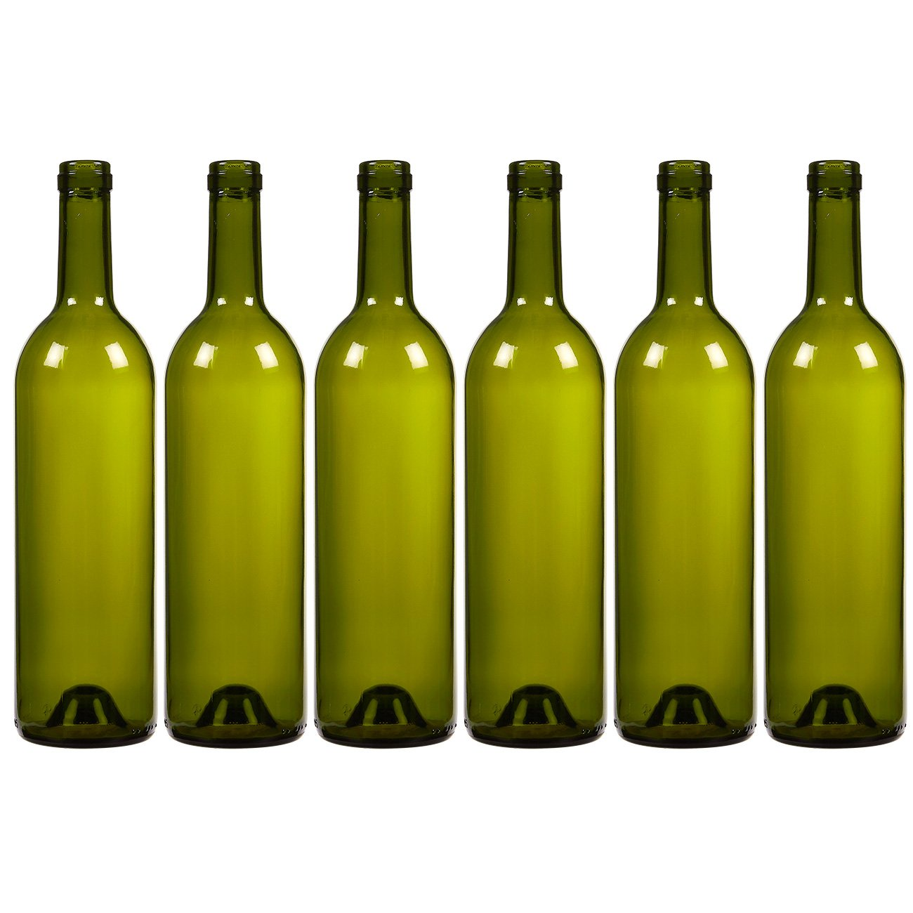 6-Pack Wine Glass Bottles - Empty, Recyclable Bordeaux Bottles for Home Brewing Alcohol, Wine Supplies, Green by Juvale