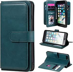 Smartphone Protective Clips For iPhone 8 Plus & 7 Plus Multifunctional Magnetic Copper Buckle Horizontal Flip Solid Color Leather Case with 10 Card Slots & Wallet & Holder & Photo Frame Phone Bag