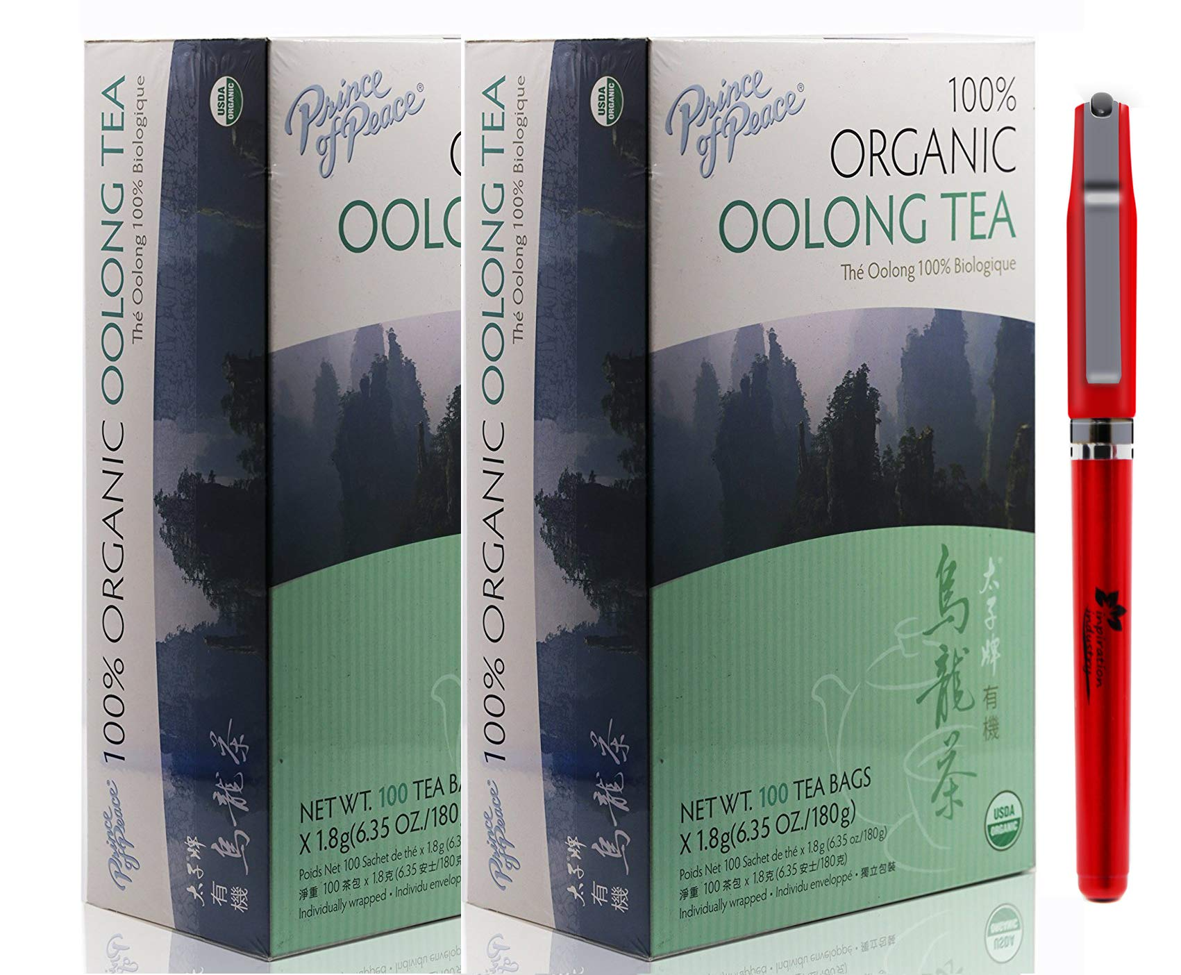 Prince Of Peace Organic Oolong Tea-100 Tea Bags net wt. 6.35oz with Free Inspiration Industry Logo Pen (2-Pack)