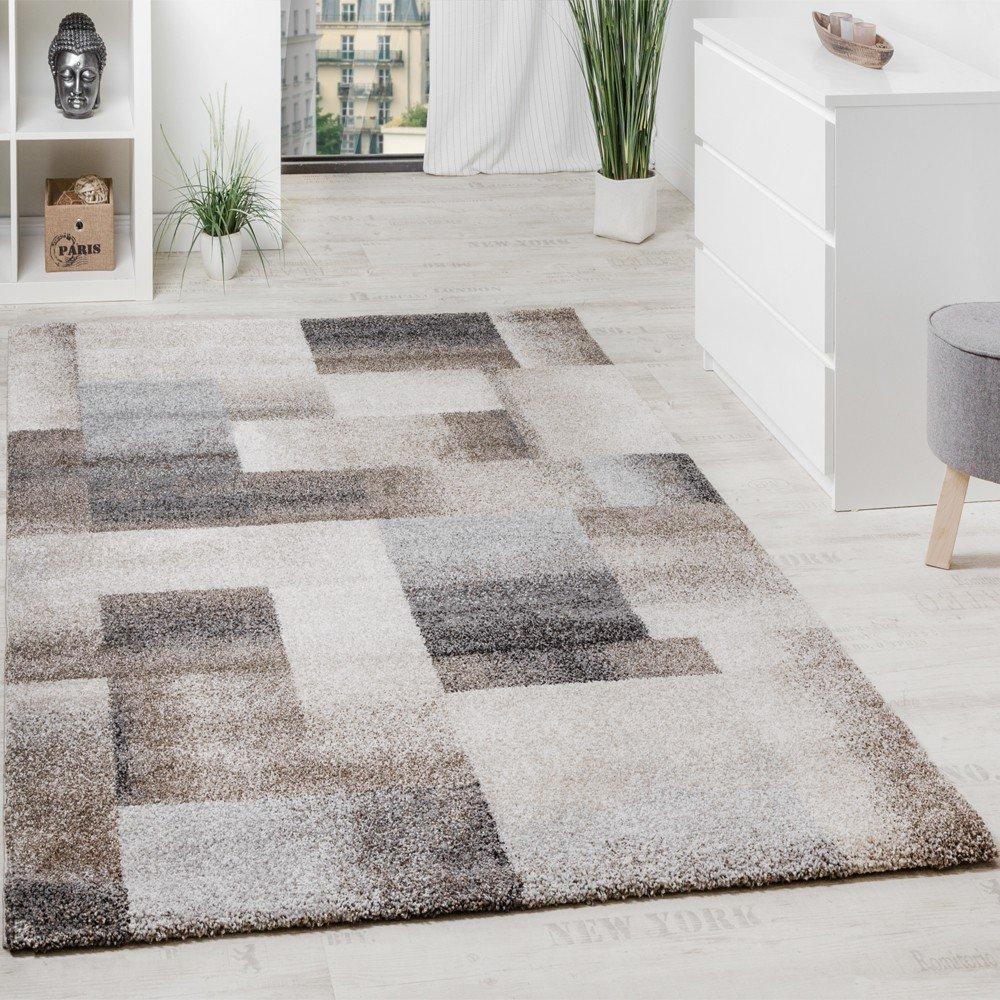 Paco Home Teppich Meliert Modern Webteppich Hochwertig Kariert Beige Creme Grau, Grösse 200x290 cm