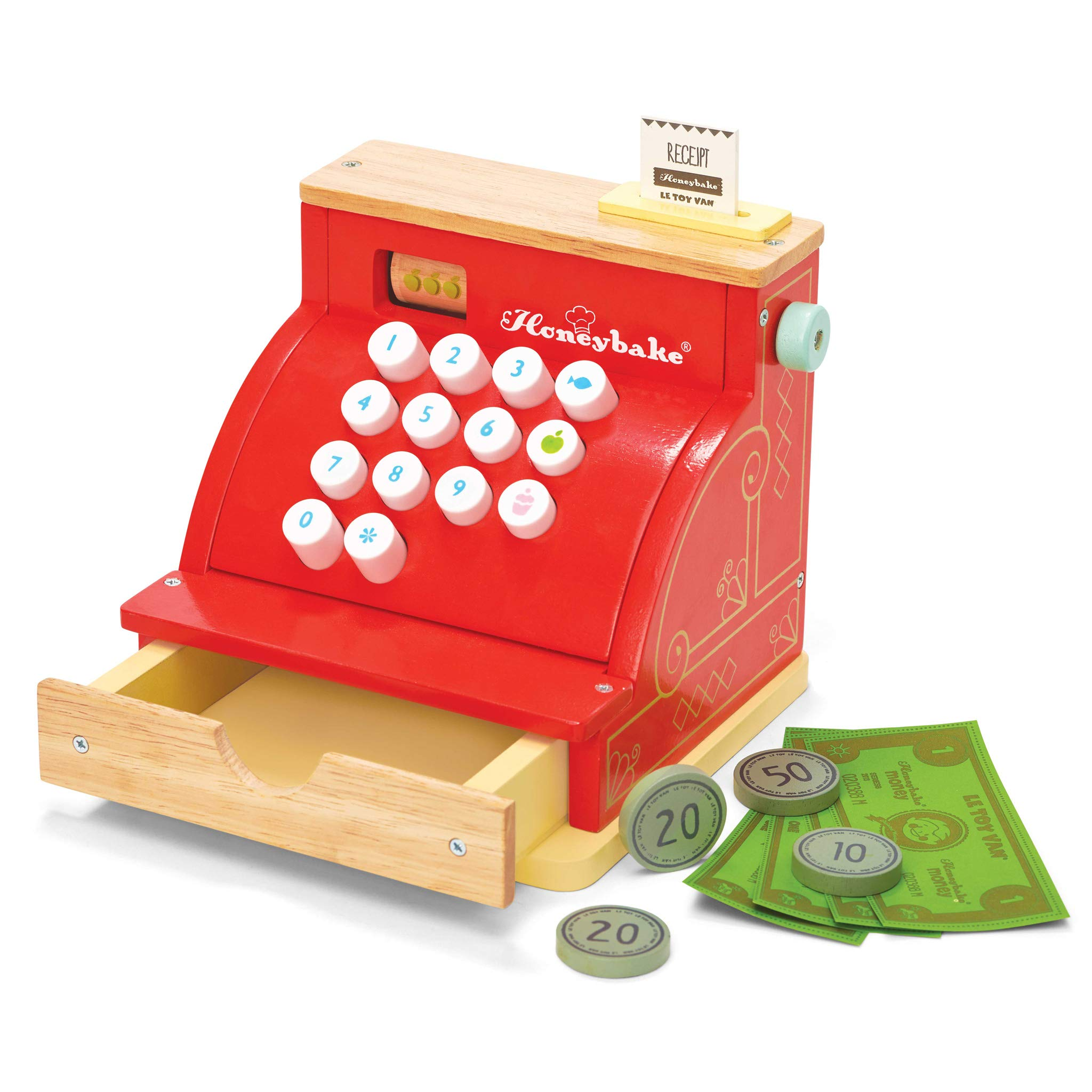 Le Toy Van Honeyback Collection Red Cash Register Premium Wooden Toys for Kids Ages 3 Years & Up by Le Toy Van