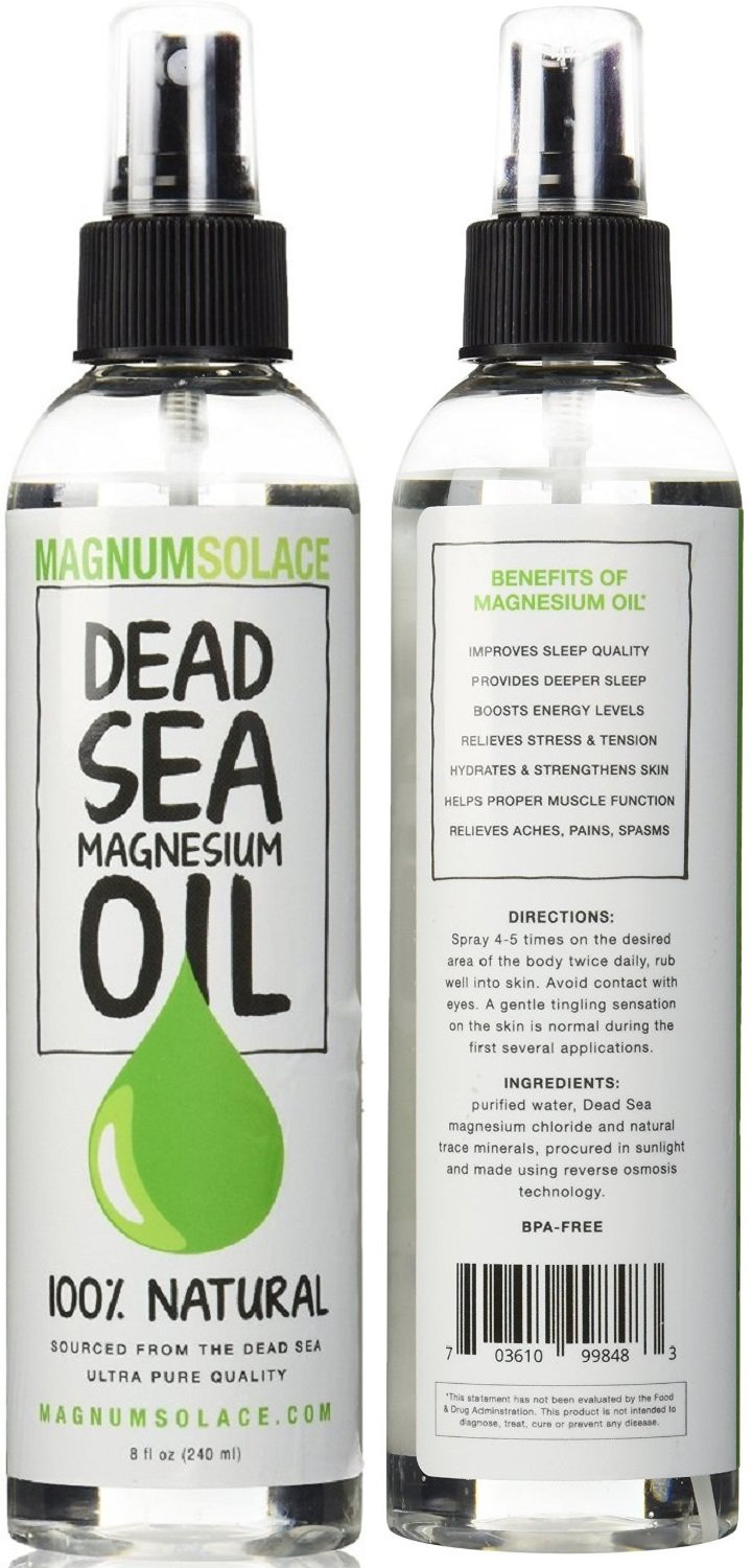 Magnesium OIL 100% Pure Natural Dead Sea Minerals - Exceptional #1 Source - Made in the USA - BIG 8 Oz Magnum Solace