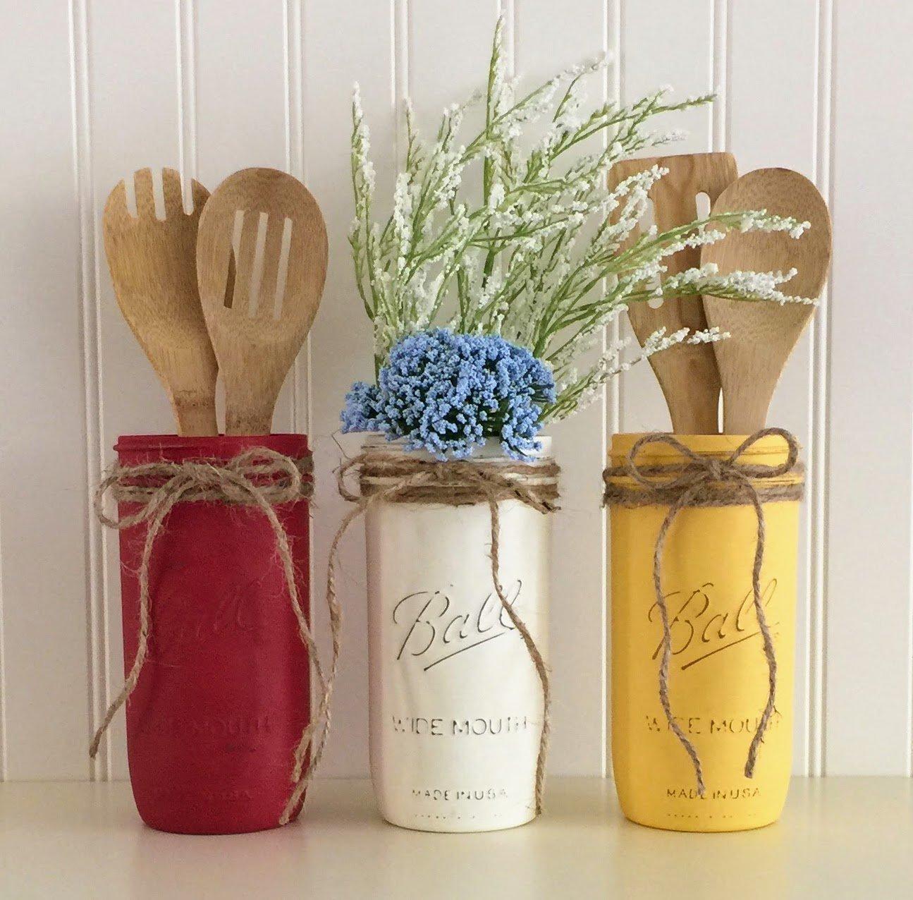 Amazon Com Mason Jar Utensil Holder Set 3 Piece Red White Yellow Kitchen Decor Handmade