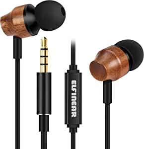 ELFINEAR Wood Earphones,HiFi in-Ear Noise-isolating Earbuds with Microphone & Volume Control