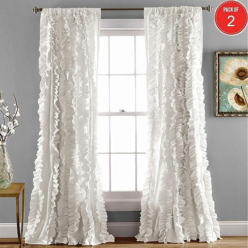 Lush Decor Belle Curtain 2 Panels, 84 x 54-Inches, White