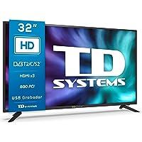 TD Systems K32DLG12H - Televisores 32 Pulgadas HD, 800 PCI Hz, 3X HDMI, USB Grabador Reproductor, DVB-T2/C/S2 Modo Hotel…