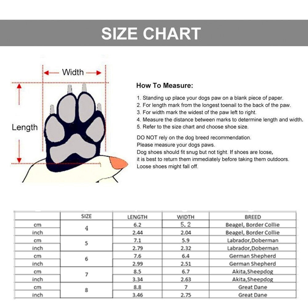 Dog Shoes, Waterproof Dog Rain Boots Non Slip Snow Shoes Protectors for Small Medium Large Dogs Paws Keep Warm in Winter - Red 8(3.46''x2.75'')