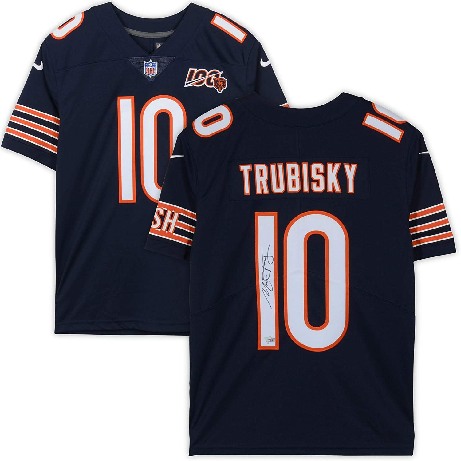 Mitchell Trubisky Chicago Bears Autographed Navy Nike NFL 100 ...