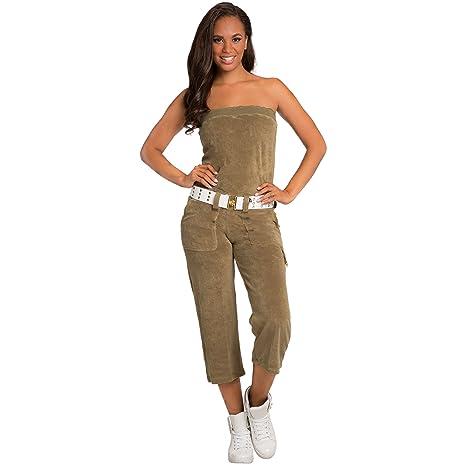 1e53f3f7bff Amazon.com  Sweet Vibes Junior Womens Jumpsuit Stretch Terry Cloth Tube  Fashion Belt  Clothing