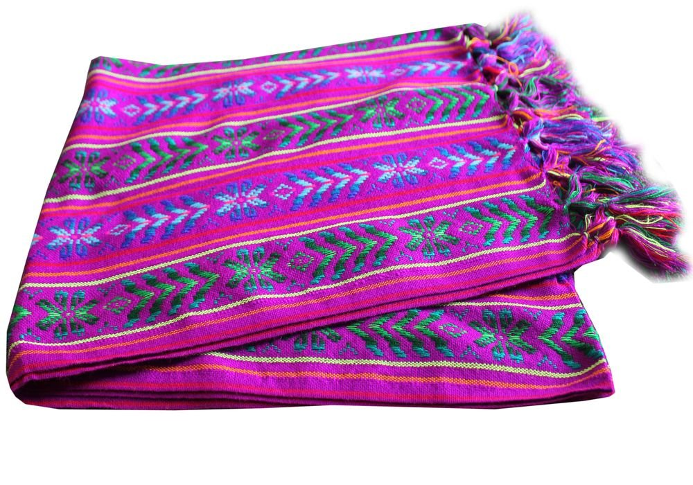 Del Mex Mexican Rebozo Shawl Blanket Doula (X-large (9 ft x 5 ft), Electric Purple)