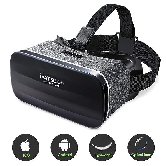 HAMSWAN Gafas de Realidad Virtual, [Regalos Originales] 3D VR Peso Ligero 238g, VR Glasses Visión Panorámico 360 Grado Película 3D Juego Immersivo para Móviles 4.0-6.0 Pulgada