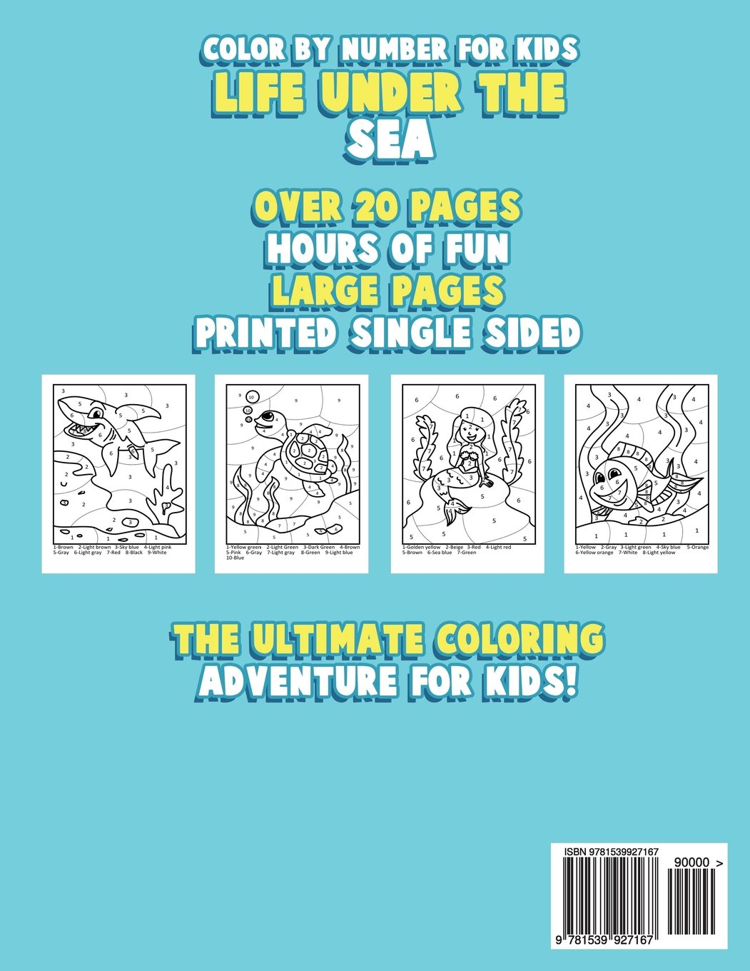 Color By Number for Kids: Life Under the Sea: Ocean Coloring Book ...