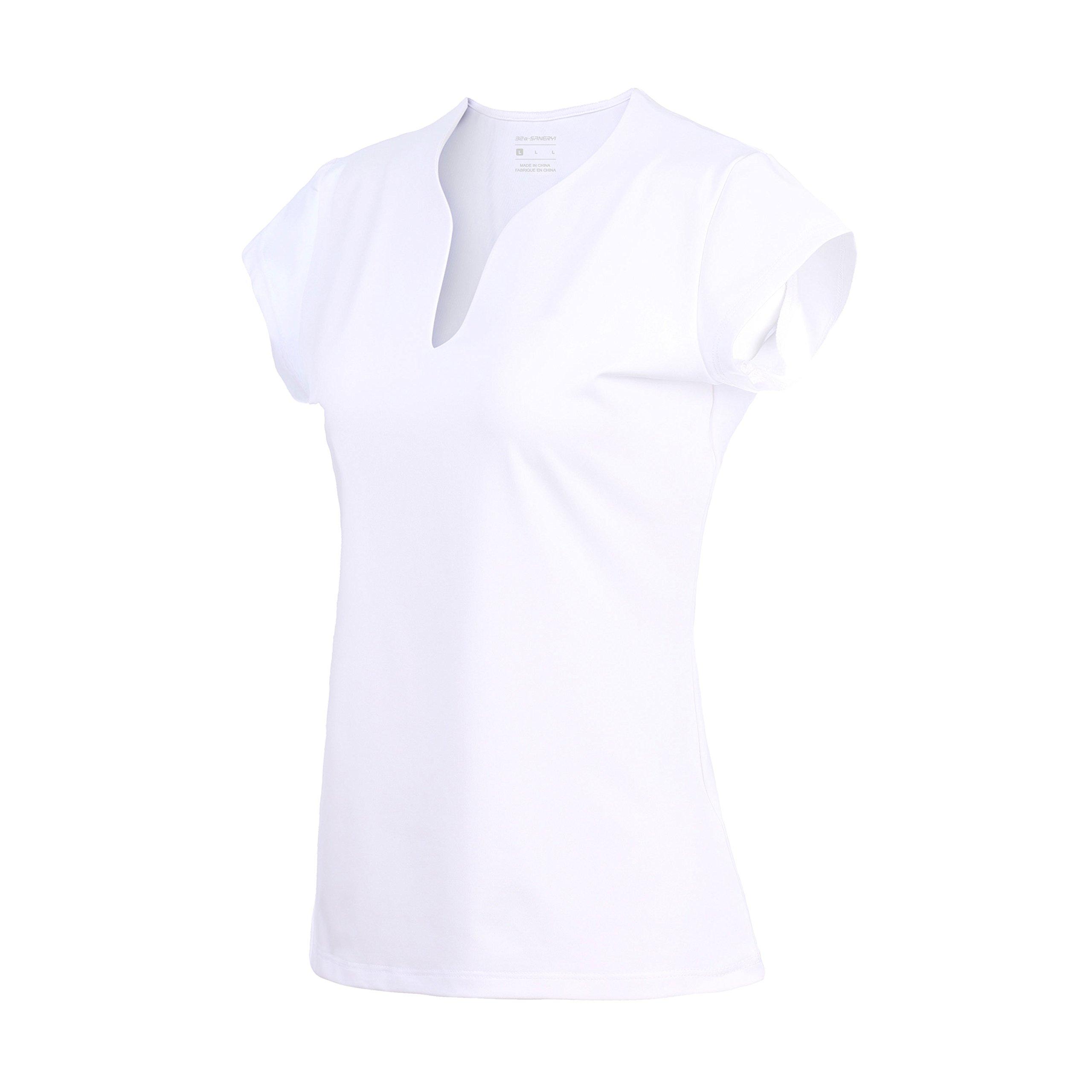 Women's Quick-Drying V-Neck Short Sleeve Tops, Golf Shirts (t42,S,White)