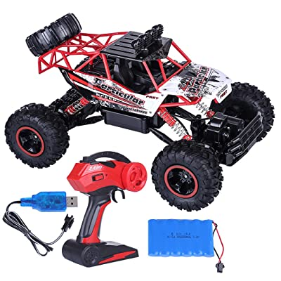 HMANE 1/12 2.4G 4WD Extra Large RC Off-Road Truck Remote Control Climbing Car Mountain Drift Car Dual Motor Monster Trucks Vehicle Model Toys for Kids Boys - (Red): Toys & Games